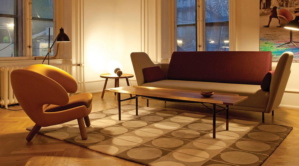 57 Sofa, fabric, Pelican Chair, Table Bench, Circle Rug