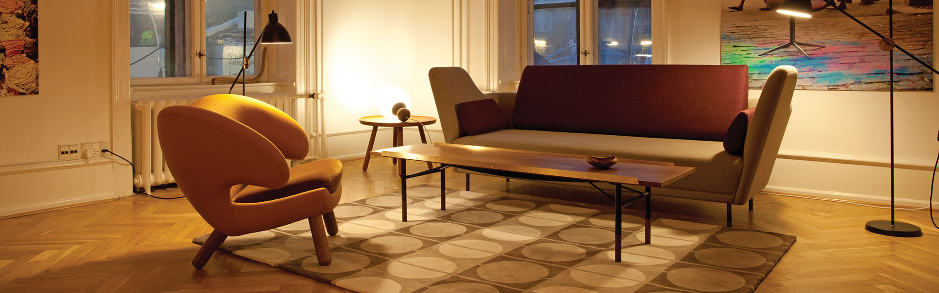 57 Sofa, fabric, Pelican Chair, Table Bench, Circle Rug
